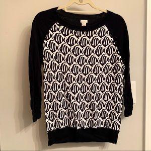 Jcrew Factory fish print Teddie sweater